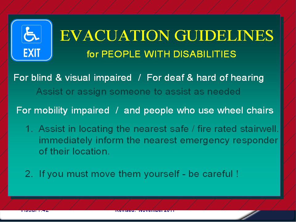 Visual 1.41 Revised: November 2011 Example of a written checklist- EMERGENCY ACTION TEAM LEADERS EVACUATION CHECK LIST FLOOR: Check List Sweep check o