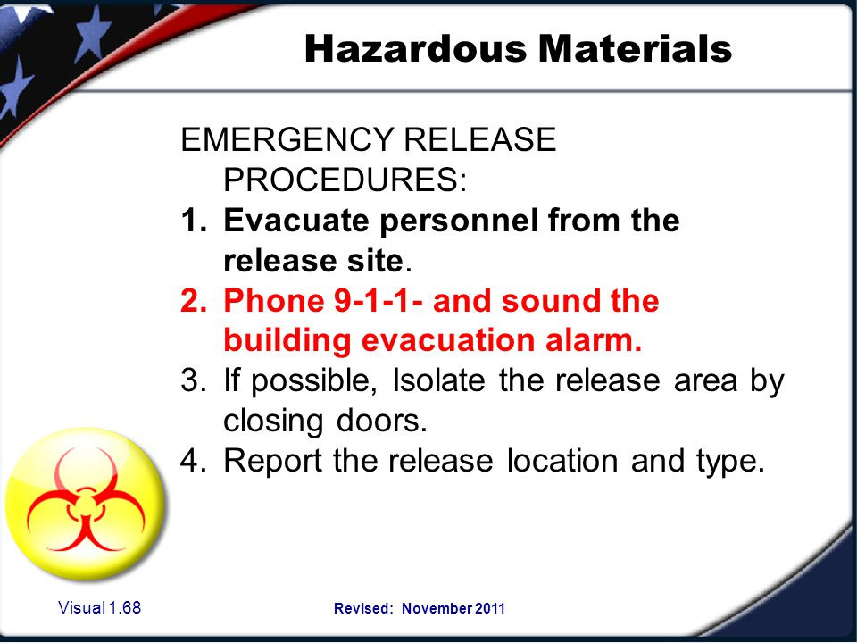 Visual 1.67 Revised: November 2011 Hazardous Materials Defined: An uncontrolled release of a hazardous substance that includes one or more of the foll