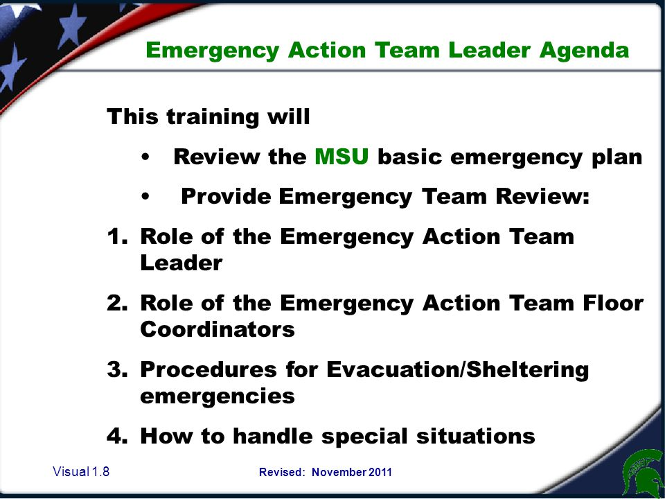Visual 1.68 Revised: November 2011 Hazardous Materials EMERGENCY RELEASE PROCEDURES: 1.Evacuate personnel from the release site.
