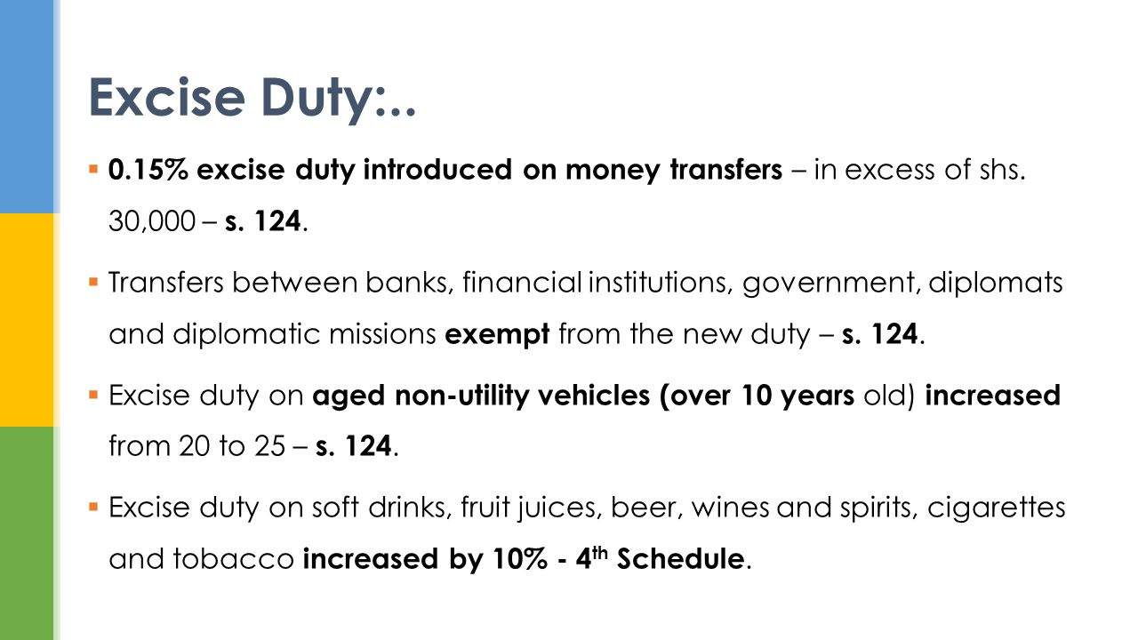 0.15% excise duty introduced on money transfers – in excess of shs.