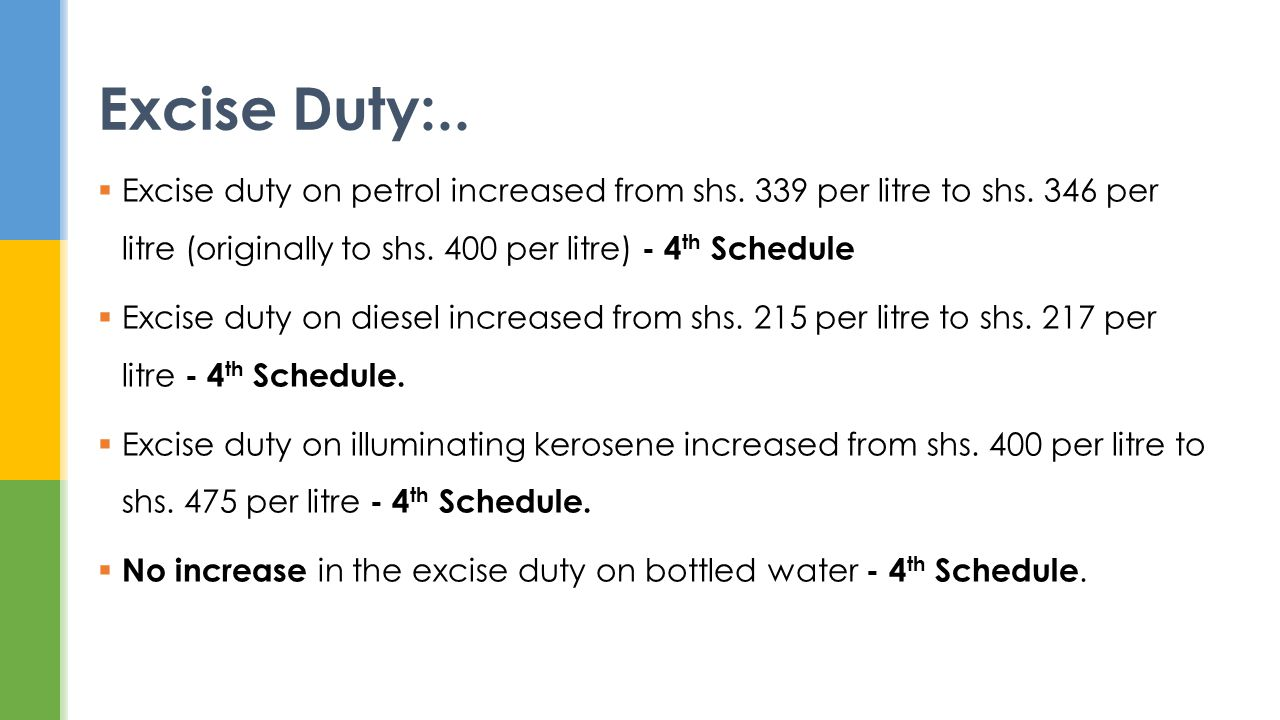 Excise duty on petrol increased from shs. 339 per litre to shs.