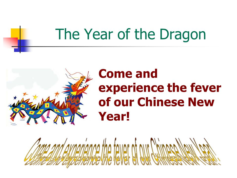 The Year of the Dragon Come and experience the fever of our Chinese New Year!