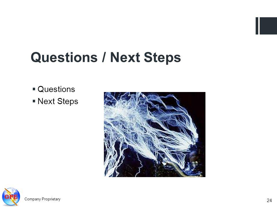 Questions / Next Steps Questions Next Steps 24 Company Proprietary