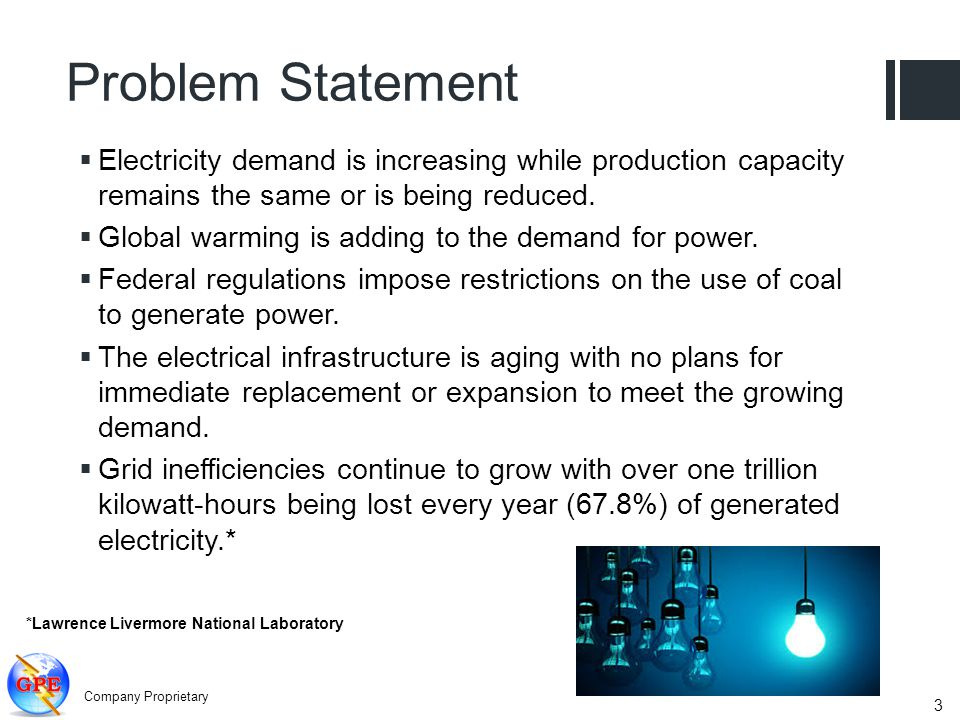 Problem Statement Electricity demand is increasing while production capacity remains the same or is being reduced. Global warming is adding to the dem