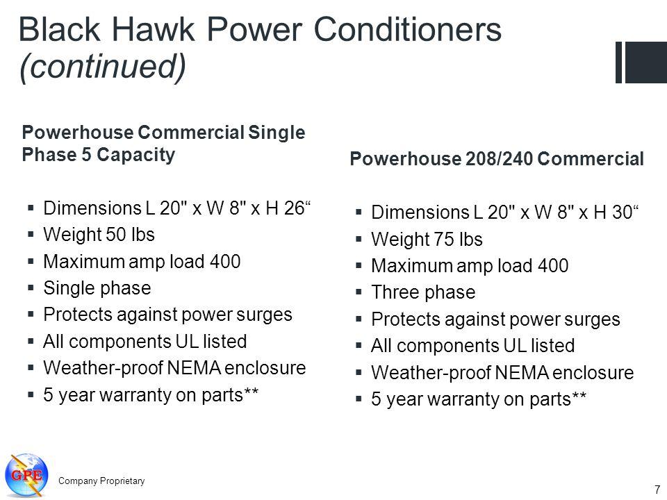 Company Proprietary 7 Powerhouse Commercial Single Phase 5 Capacity Dimensions L 20