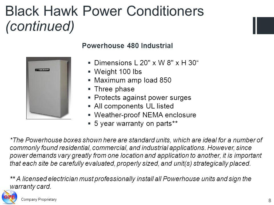 Company Proprietary 8 Powerhouse 480 Industrial Dimensions L 20