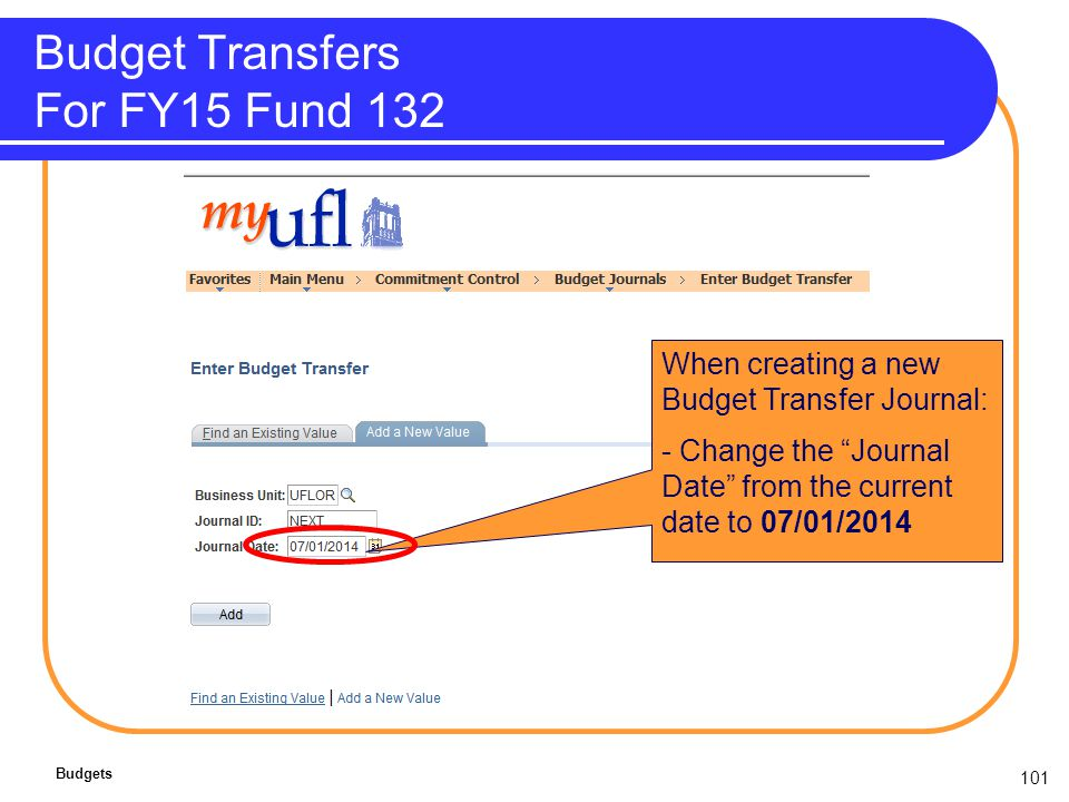 101 Budget Transfers For FY15 Fund 132 Budgets When creating a new Budget Transfer Journal: - Change the Journal Date from the current date to 07/01/2014