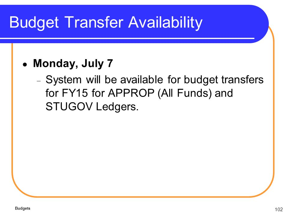 102 Budget Transfer Availability Monday, July 7 System will be available for budget transfers for FY15 for APPROP (All Funds) and STUGOV Ledgers.