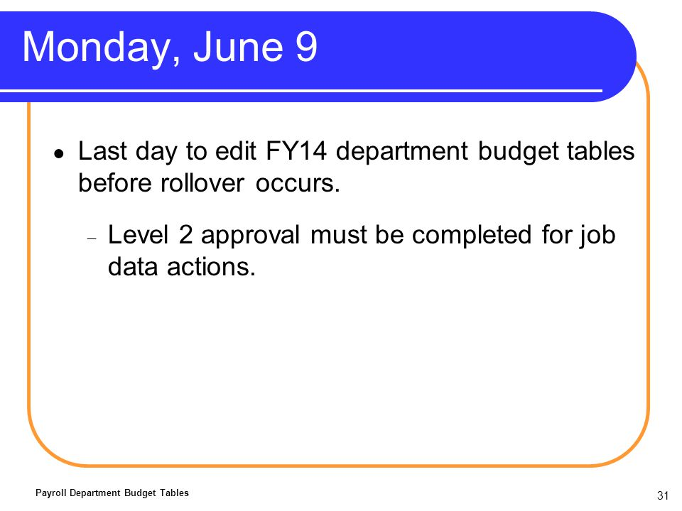 31 Monday, June 9 Last day to edit FY14 department budget tables before rollover occurs.