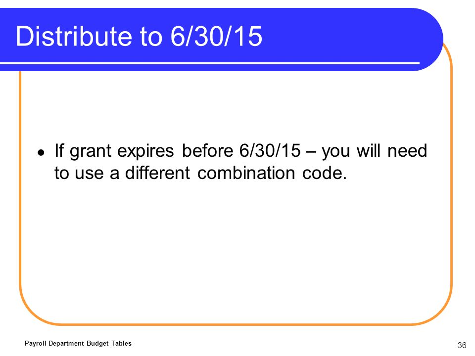 Distribute to 6/30/15 If grant expires before 6/30/15 – you will need to use a different combination code.