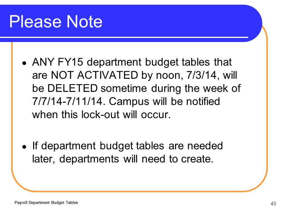 43 Please Note ANY FY15 department budget tables that are NOT ACTIVATED by noon, 7/3/14, will be DELETED sometime during the week of 7/7/14-7/11/14.