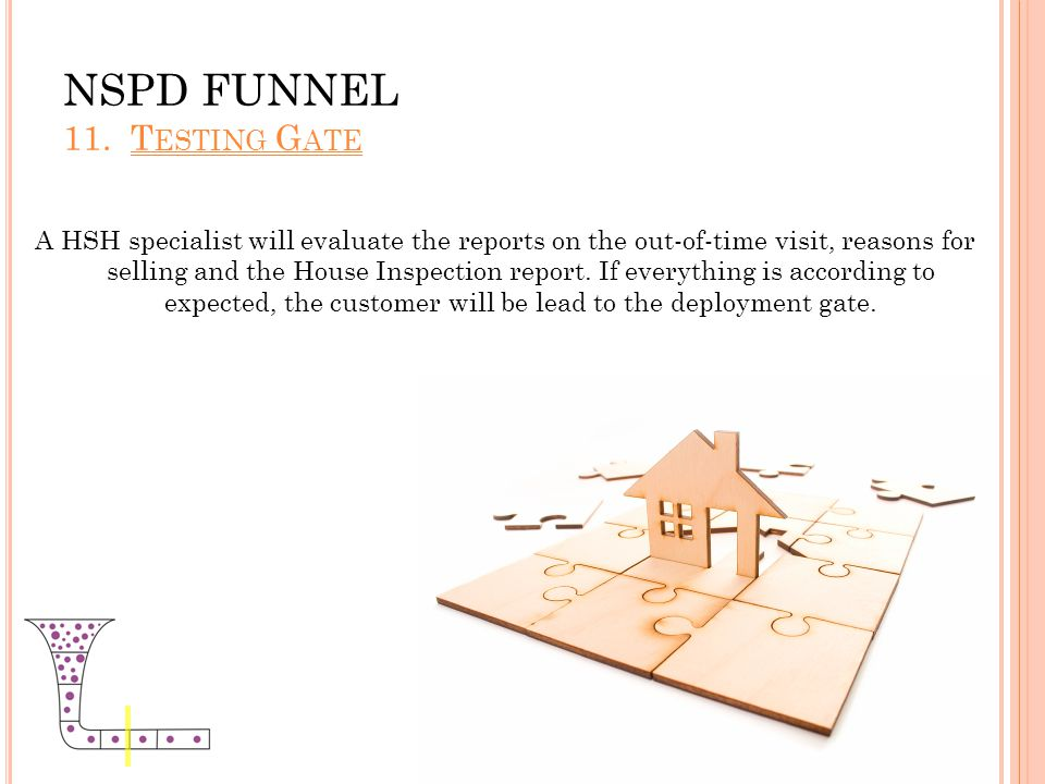 NSPD FUNNEL 11. T ESTING G ATE A HSH specialist will evaluate the reports on the out-of-time visit, reasons for selling and the House Inspection repor