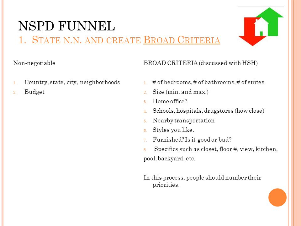 NSPD FUNNEL 1. S TATE N. N. AND CREATE B ROAD C RITERIA BROAD CRITERIA (discussed with HSH) 1.