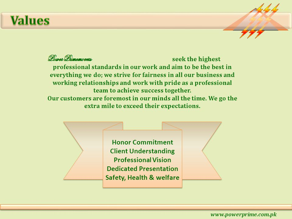Honor Commitment Client Understanding Professional Vision Dedicated Presentation Safety, Health & welfare seek the highest professional standards in o