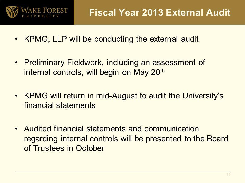 Fiscal Year 2013 External Audit KPMG, LLP will be conducting the external audit Preliminary Fieldwork, including an assessment of internal controls, w