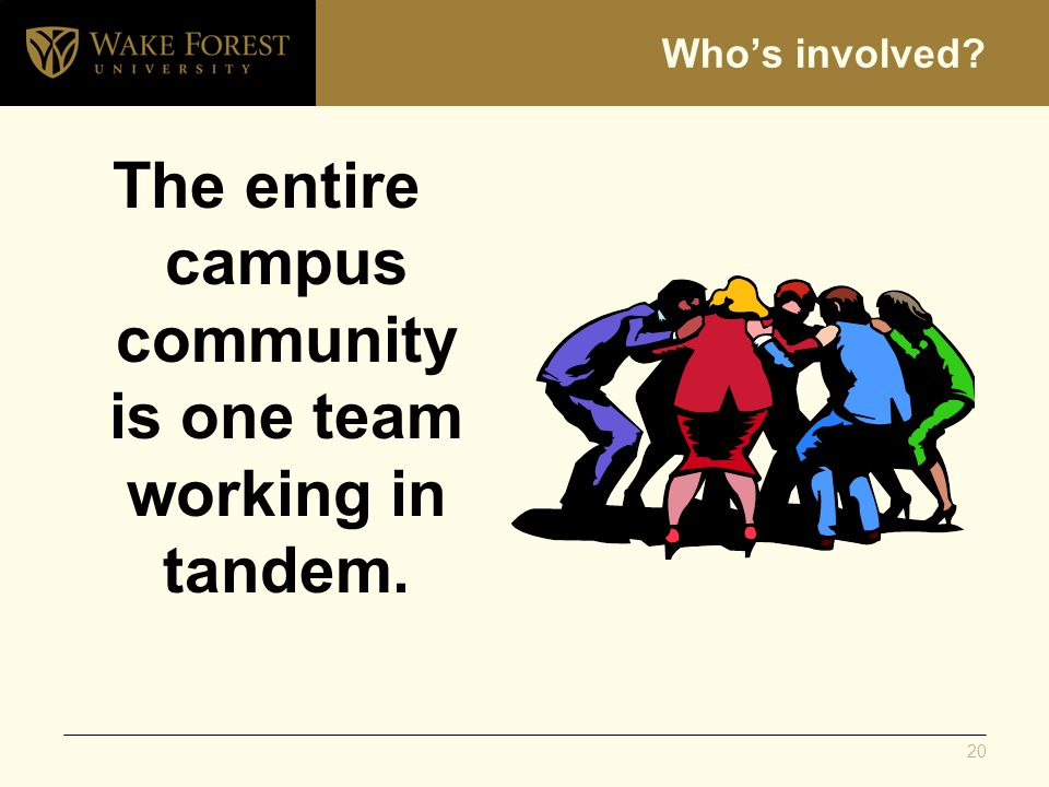 Whos involved? The entire campus community is one team working in tandem. 20