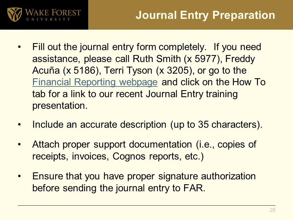 Journal Entry Preparation Fill out the journal entry form completely.