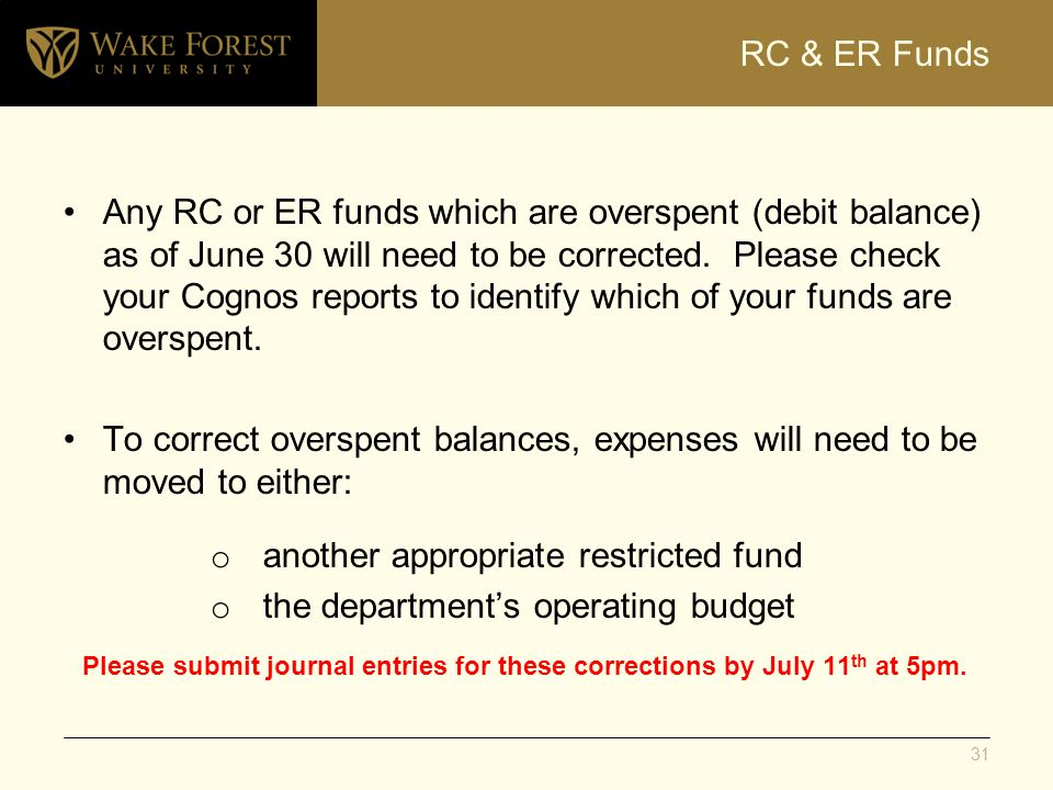 RC & ER Funds Any RC or ER funds which are overspent (debit balance) as of June 30 will need to be corrected. Please check your Cognos reports to iden