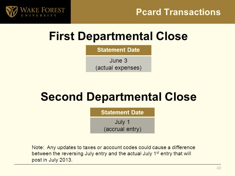 Pcard Transactions First Departmental Close Statement Date June 3 (actual expenses) Statement Date July 1 (accrual entry) Second Departmental Close No