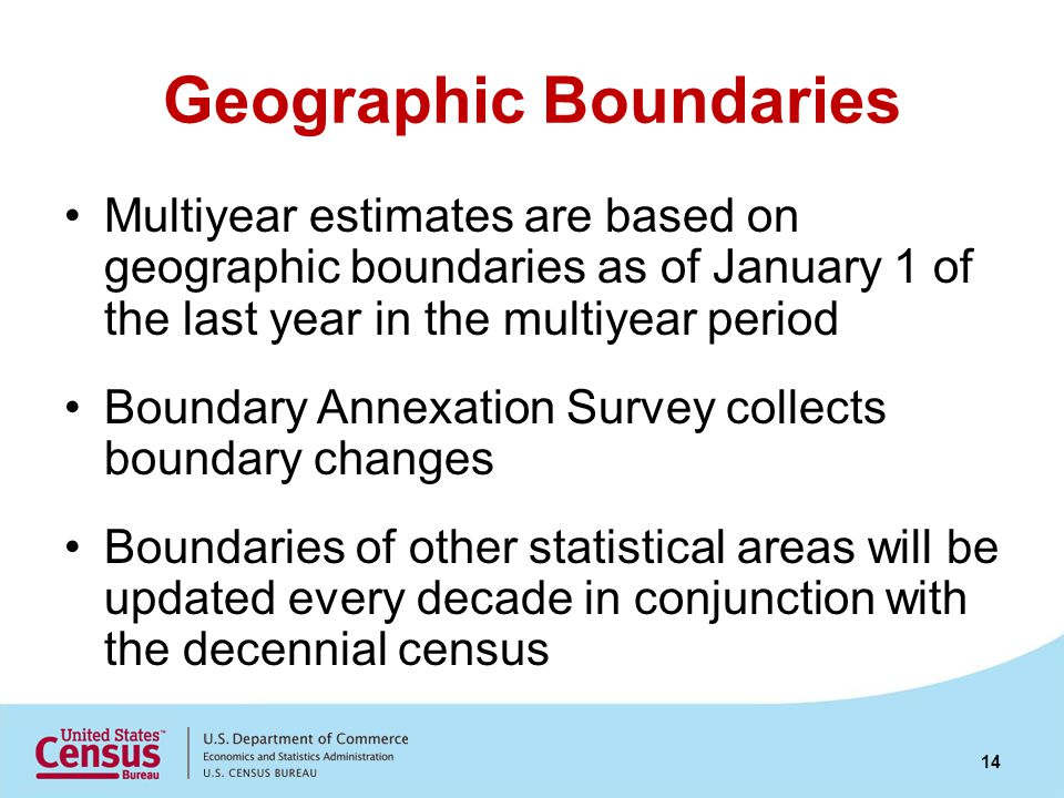 Geographic Boundaries Multiyear estimates are based on geographic boundaries as of January 1 of the last year in the multiyear period Boundary Annexat