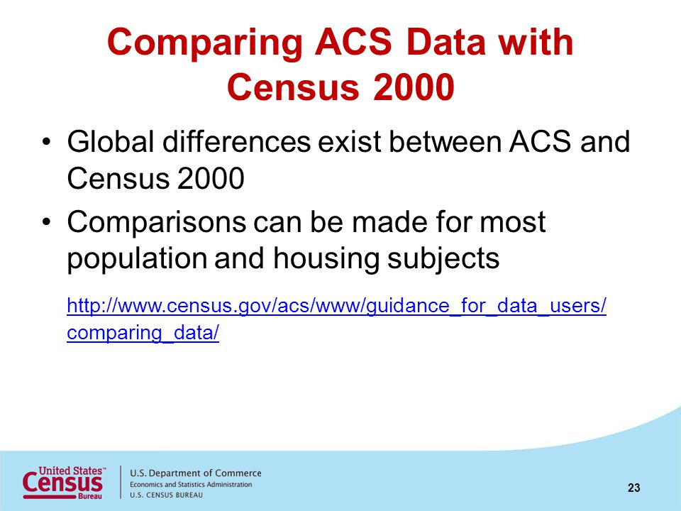 Comparing ACS Data with Census 2000 Global differences exist between ACS and Census 2000 Comparisons can be made for most population and housing subjects http://www.census.gov/acs/www/guidance_for_data_users/ comparing_data/ 23