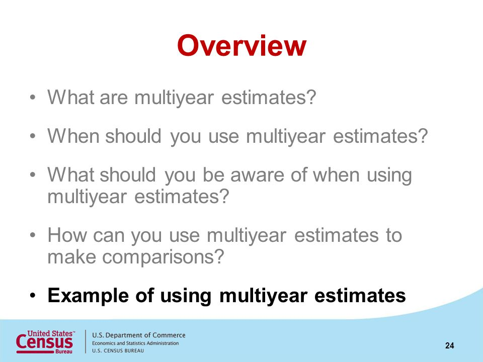 Overview What are multiyear estimates? When should you use multiyear estimates? What should you be aware of when using multiyear estimates? How can yo