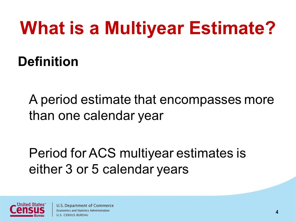 What is a Multiyear Estimate? Definition A period estimate that encompasses more than one calendar year Period for ACS multiyear estimates is either 3