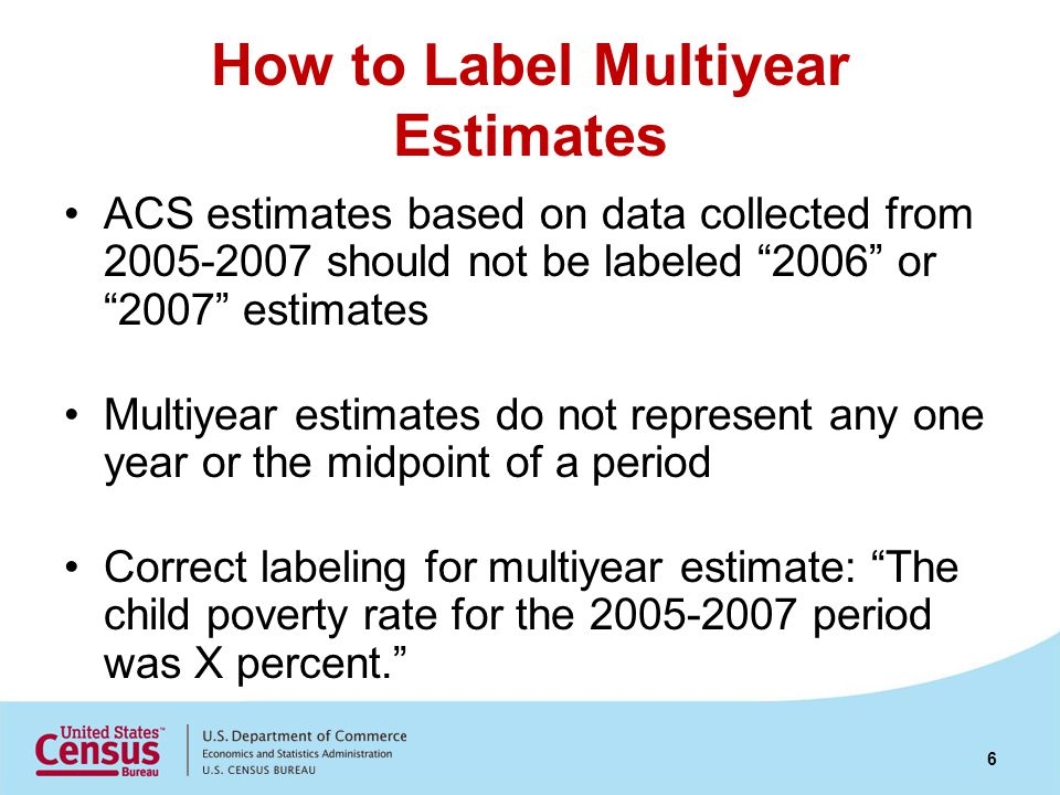 How to Label Multiyear Estimates ACS estimates based on data collected from 2005-2007 should not be labeled 2006 or 2007 estimates Multiyear estimates