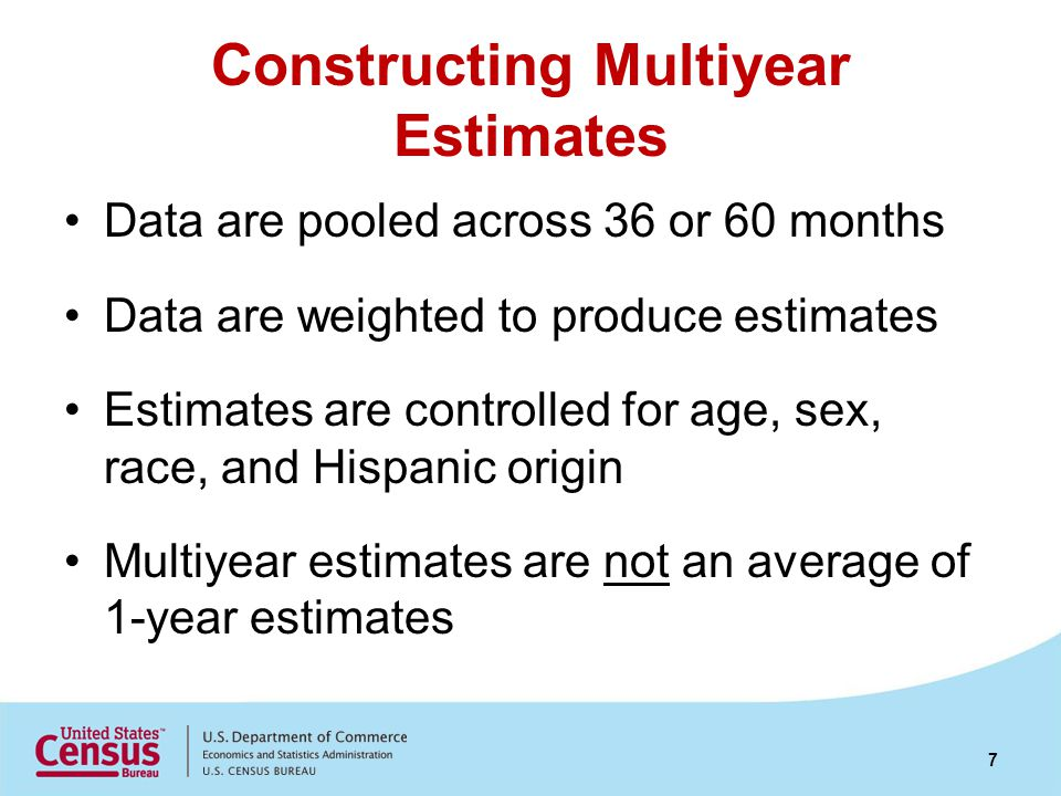 Constructing Multiyear Estimates Data are pooled across 36 or 60 months Data are weighted to produce estimates Estimates are controlled for age, sex,