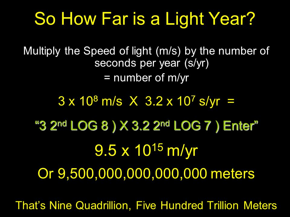 So How Far is a Light Year? Multiply the Speed of light (m/s) by the number of seconds per year (s/yr) = number of m/yr 3 x 10 8 m/s X 3.2 x 10 7 s/yr