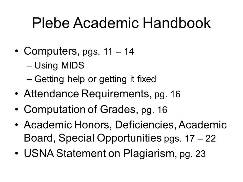Plebe Academic Handbook Computers, pgs.