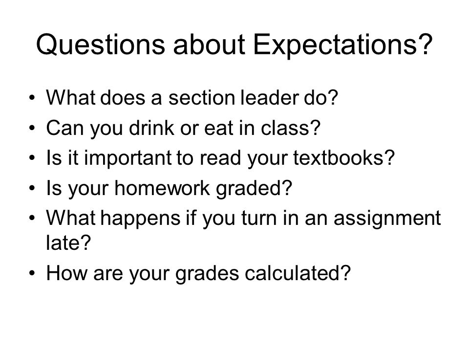 Questions about Expectations? What does a section leader do? Can you drink or eat in class? Is it important to read your textbooks? Is your homework g