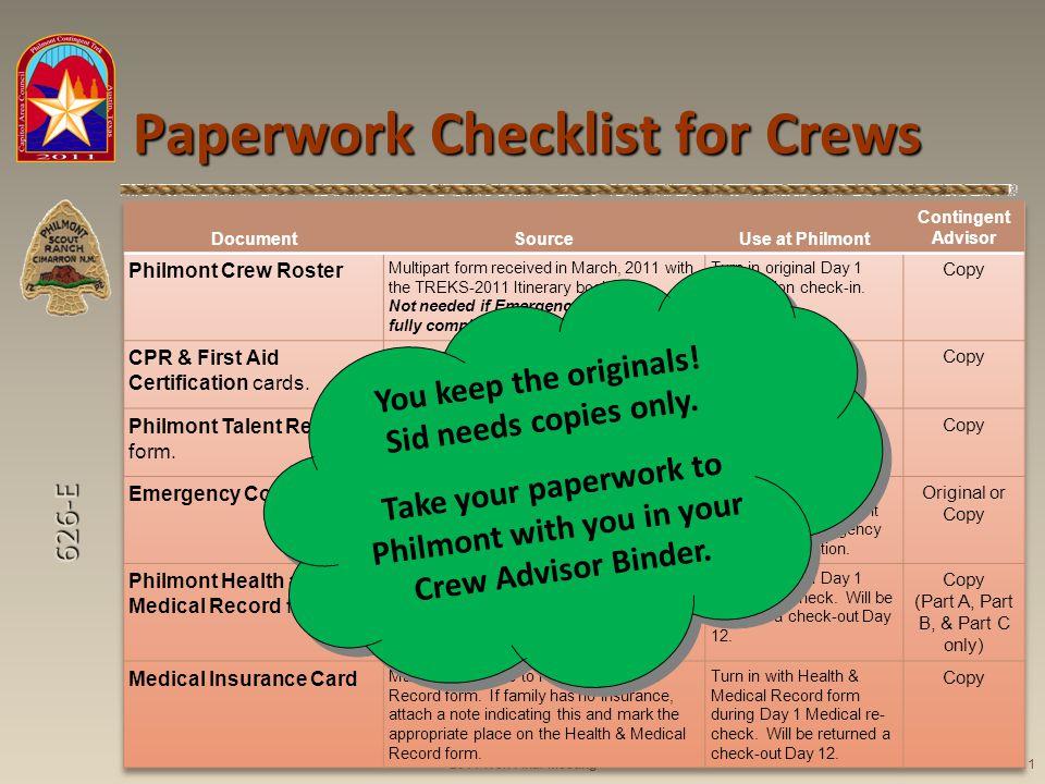626-E Paperwork Checklist for Crews 2011 Trek Final Meeting11 You keep the originals.