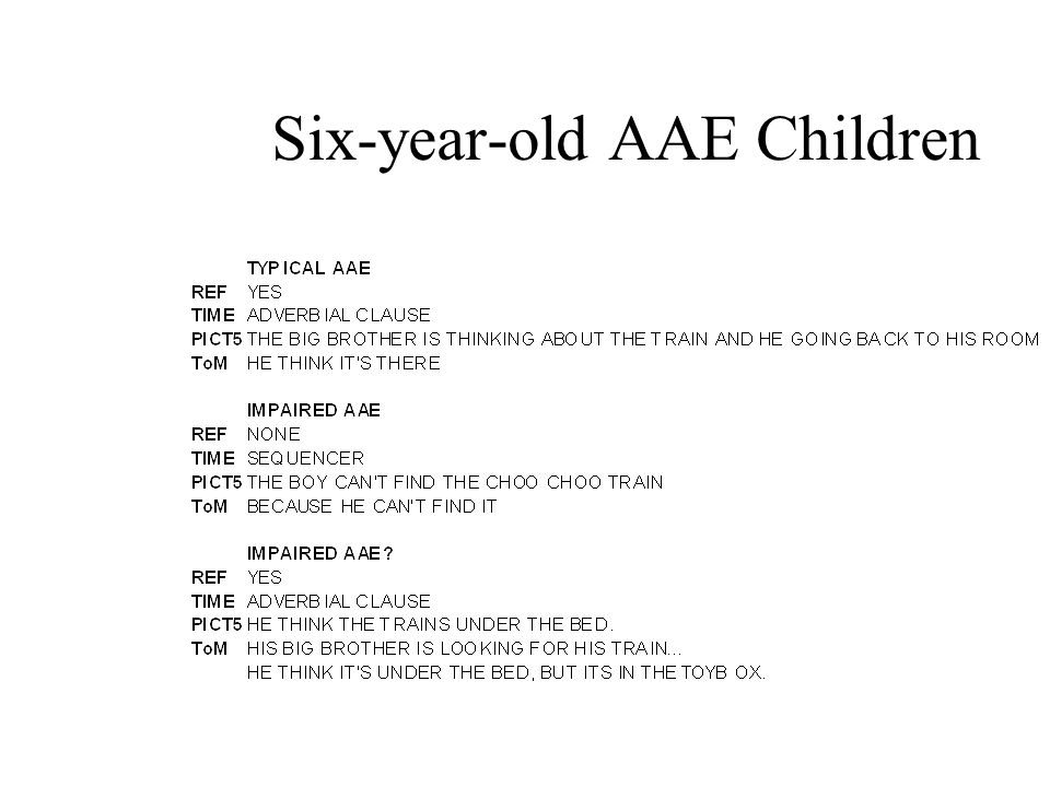 Six-year-old AAE Children