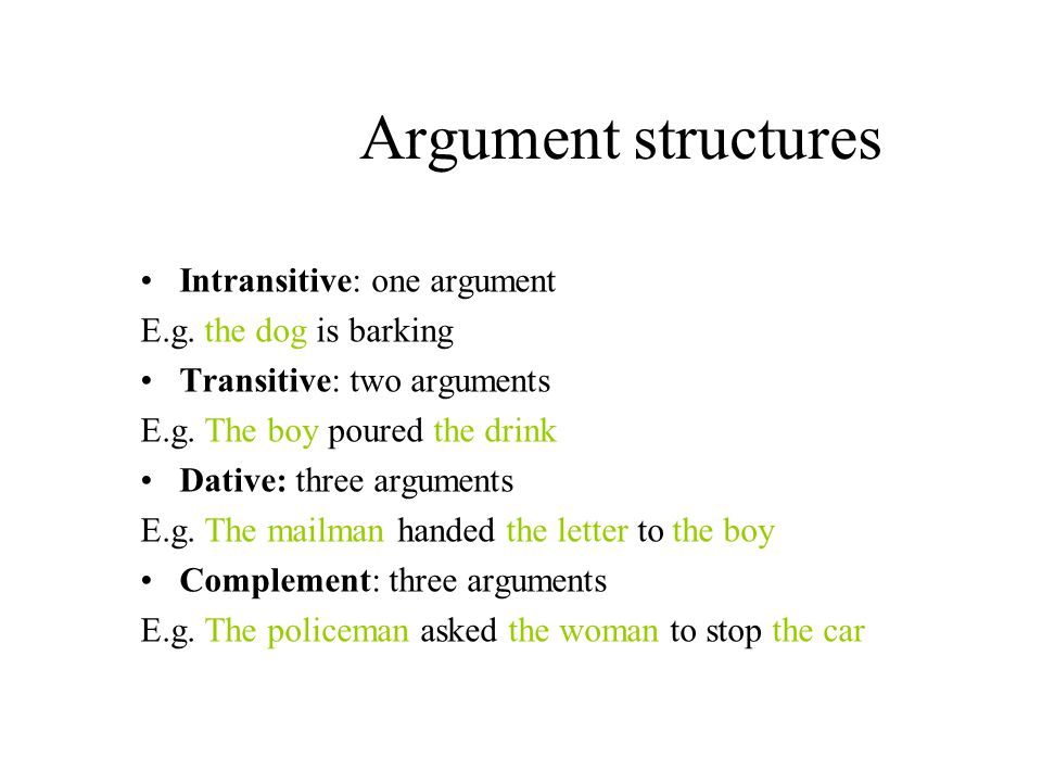 Argument structures Intransitive: one argument E.g.