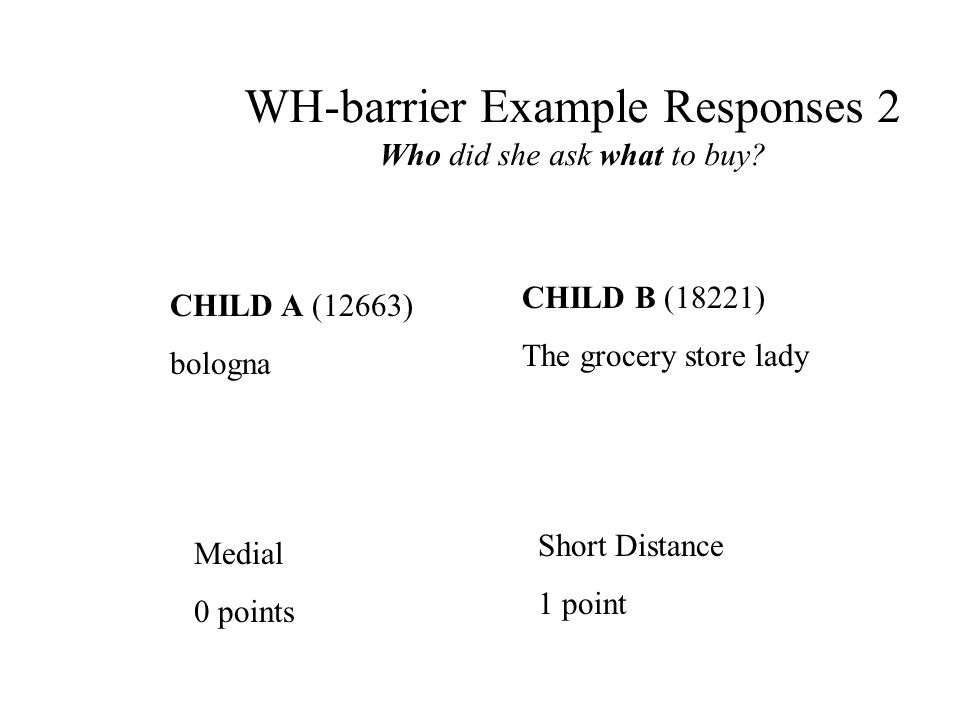 WH-barrier Example Responses 2 Who did she ask what to buy.