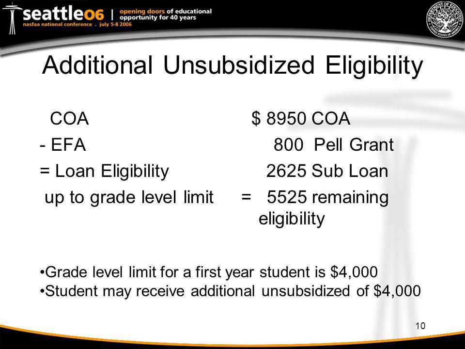 10 Additional Unsubsidized Eligibility COA - EFA = Loan Eligibility up to grade level limit $ 8950 COA 800 Pell Grant 2625 Sub Loan = 5525 remaining e
