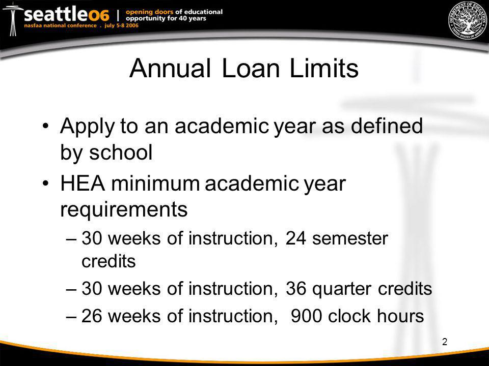 33 Transfer Student: Term-based to Term-based Student borrows $2,625 for fall/spring semesters at School A –Loan period is 09/07/05 to 05/06/06 Student transfers to School B for winter quarter, beginning 01/10/06, after receiving $1,313 at School A Student may borrow the difference between his annual loan limit at School B and $1,313 received at School A