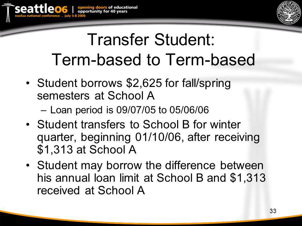 33 Transfer Student: Term-based to Term-based Student borrows $2,625 for fall/spring semesters at School A –Loan period is 09/07/05 to 05/06/06 Studen
