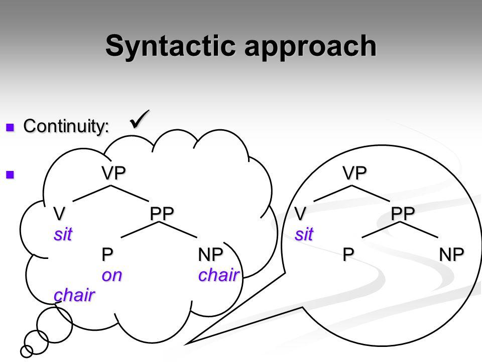 Syntactic approach Continuity: Continuity: VPVP VPPVPP sitsit PNPPNP onchair chair VPVP VPPVPP sitsit PNPPNP onchair chair