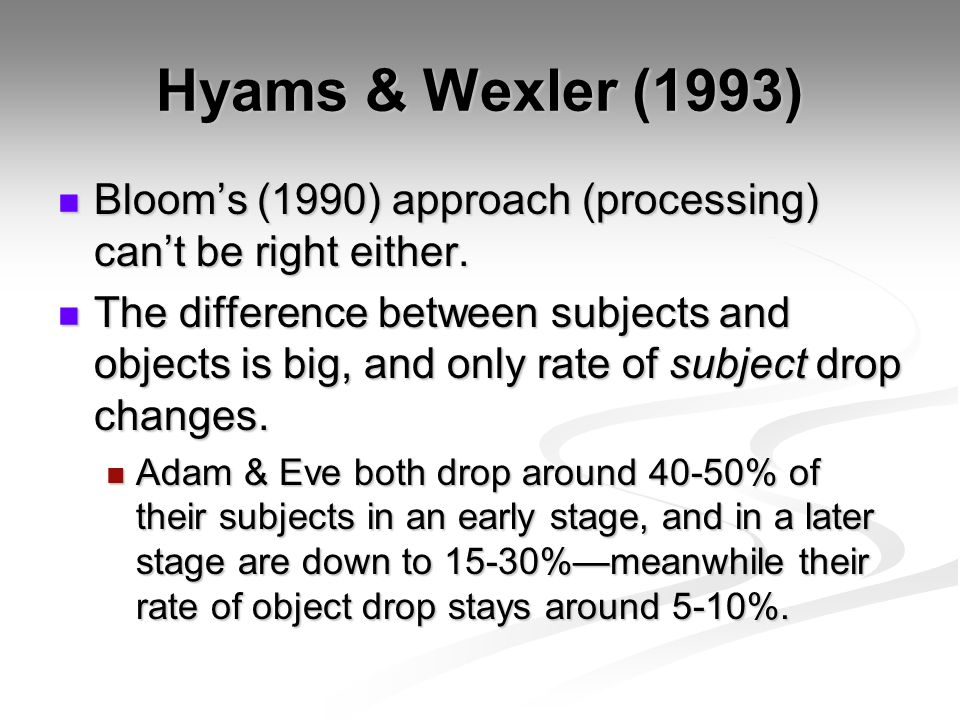 Hyams & Wexler (1993) Blooms (1990) approach (processing) cant be right either. Blooms (1990) approach (processing) cant be right either. The differen