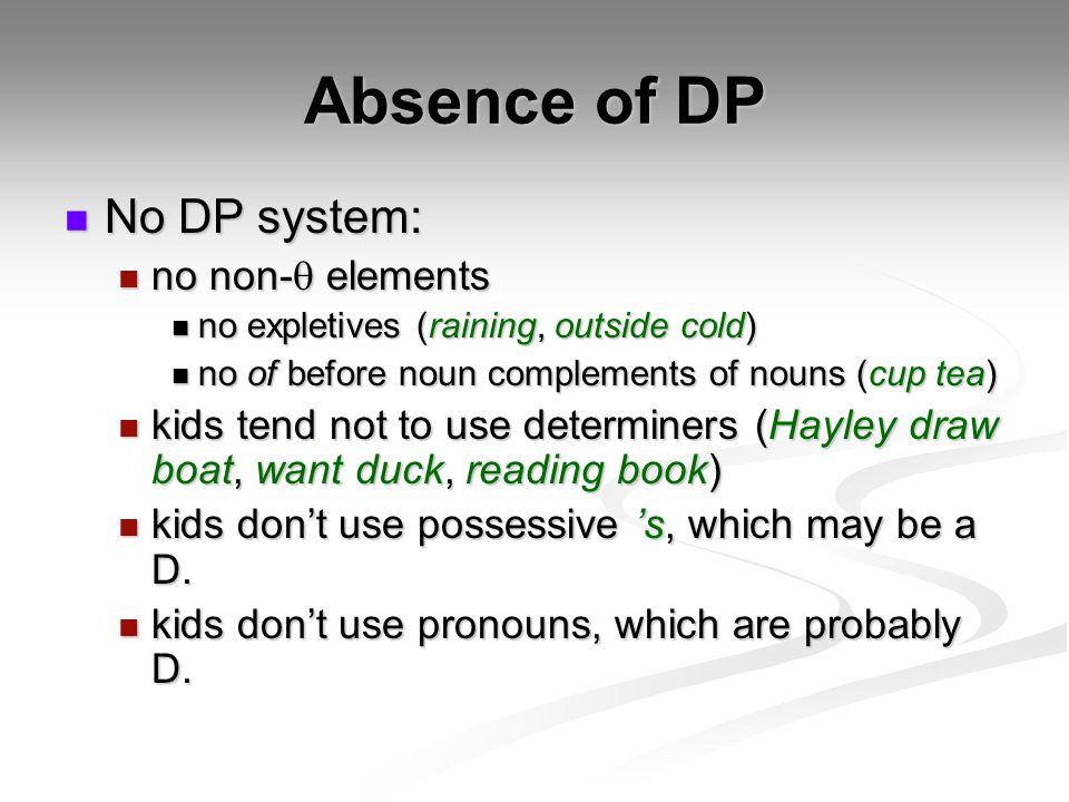 Absence of DP No DP system: No DP system: no non- elements no non- elements no expletives (raining, outside cold) no expletives (raining, outside cold