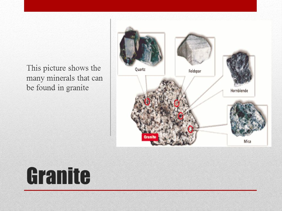 Granite This picture shows the many minerals that can be found in granite
