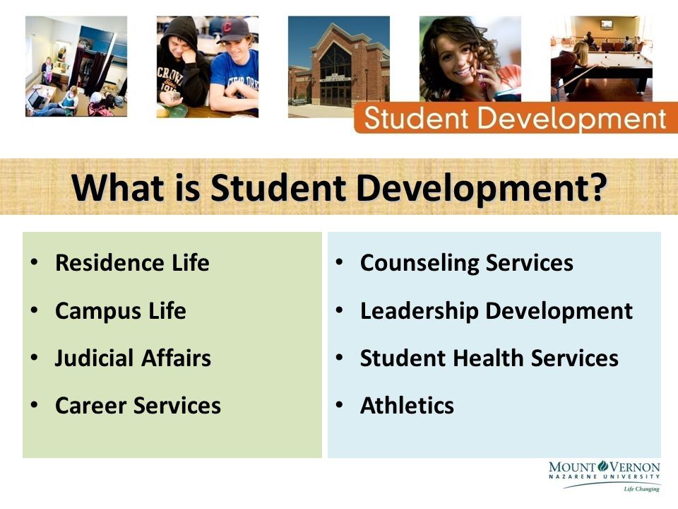 What is Student Development? Residence Life Campus Life Judicial Affairs Career Services Counseling Services Leadership Development Student Health Ser
