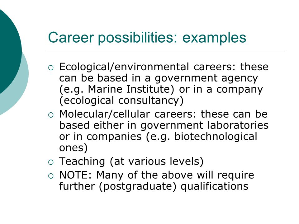 Career possibilities: examples Ecological/environmental careers: these can be based in a government agency (e.g.