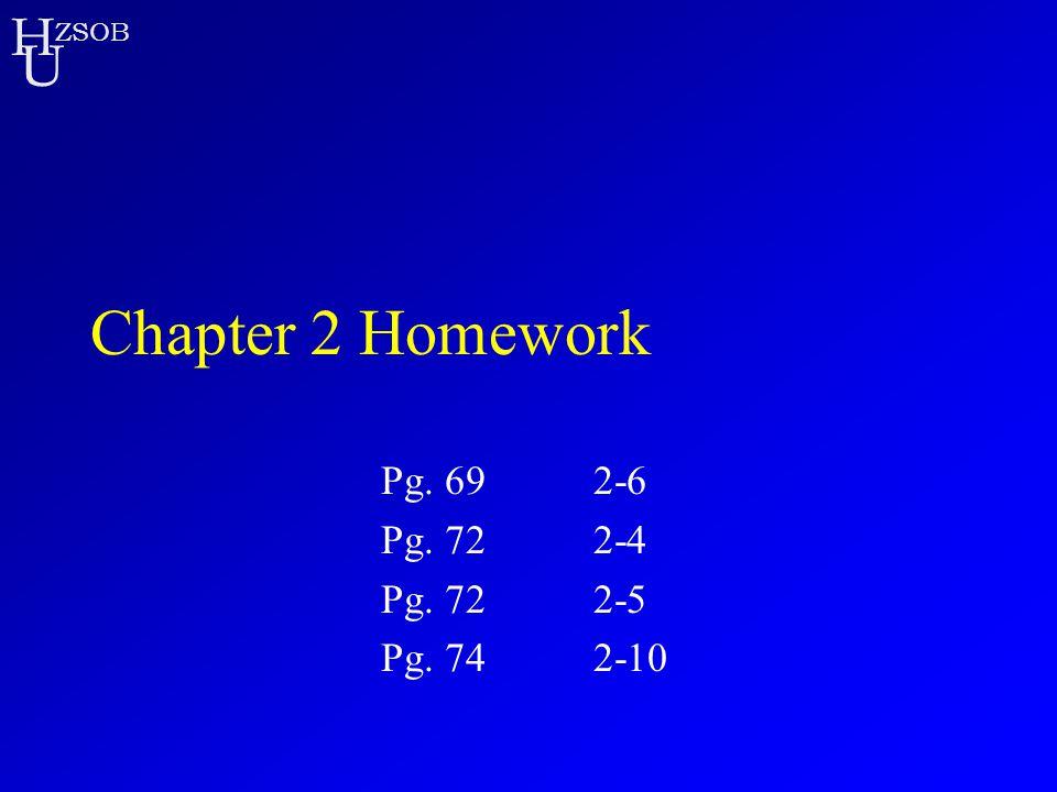 H U ZSOB Chapter 2 Homework Pg. 692-6 Pg. 722-4 Pg. 722-5 Pg. 742-10