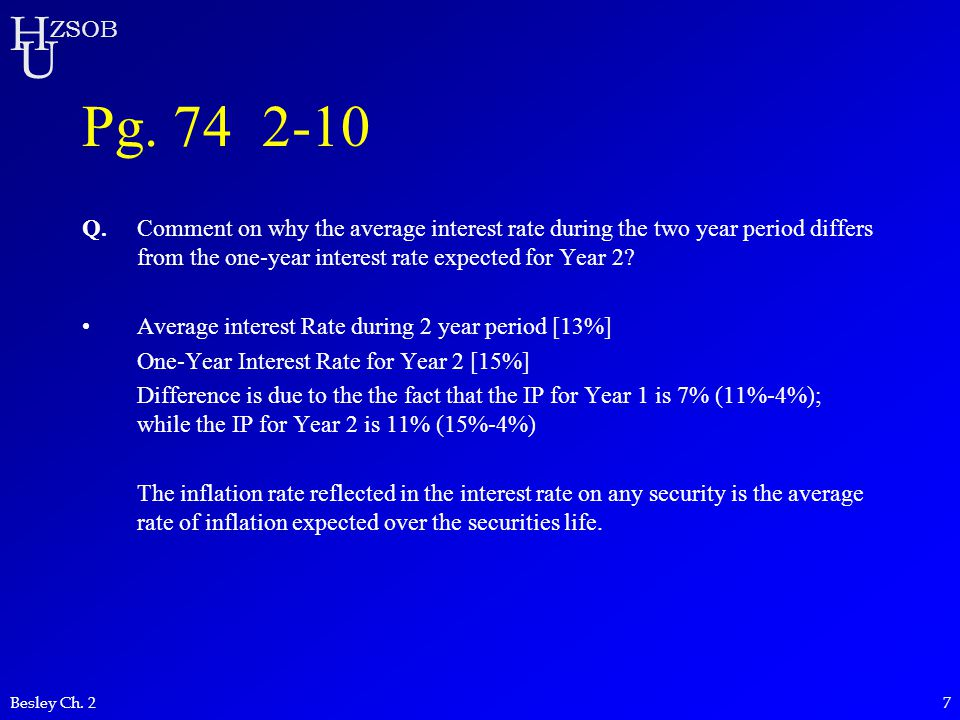 H U ZSOB Besley Ch. 27 Pg. 74 2-10 Q.Comment on why the average interest rate during the two year period differs from the one-year interest rate expec