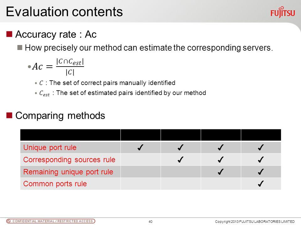 Evaluation contents Copyright 2013 FUJITSU LABORATORIES LIMITED Unique port rule Corresponding sources rule Remaining unique port rule Common ports rule 40