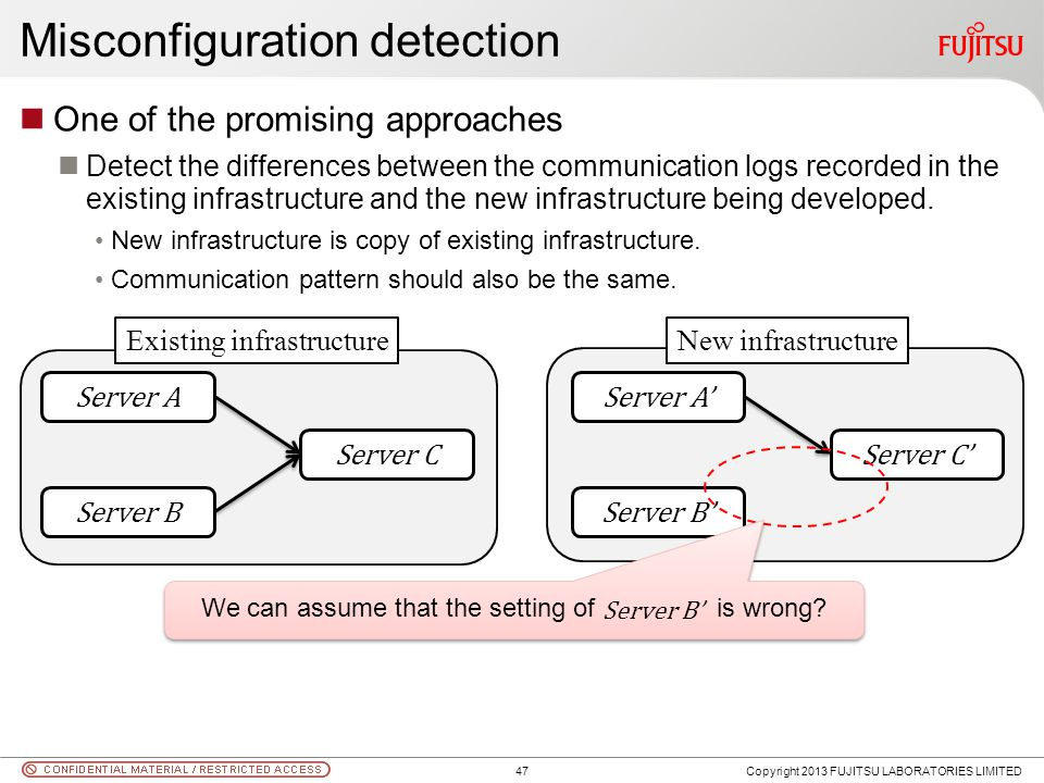 Misconfiguration detection One of the promising approaches Detect the differences between the communication logs recorded in the existing infrastructu