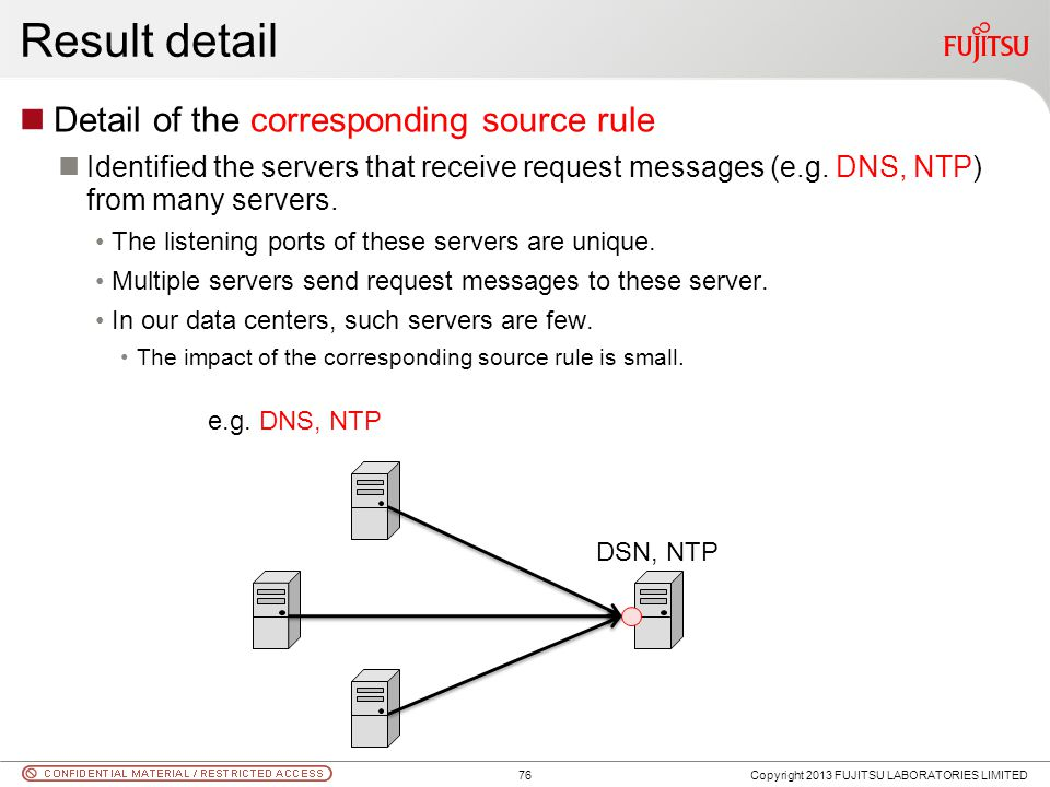 Result detail Detail of the corresponding source rule Identified the servers that receive request messages (e.g. DNS, NTP) from many servers. The list